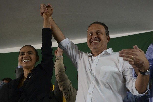 Marina Silva (left) in a 2013 photo with the late Eduardo Campos. (José Cruz/ABr)