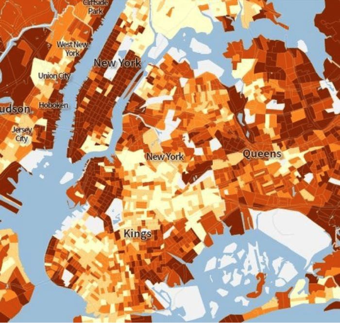 Gentrified NYC: The dark areas show where gentrification – as measured by income – have affected the City; the light areas represent Native New Yorker communities.