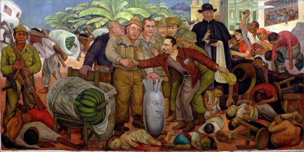 """Gloriosa Victoria"" by Diego Rivera, depicting the U.S.-orchestrated coup in Guatemala (Public Domain)"