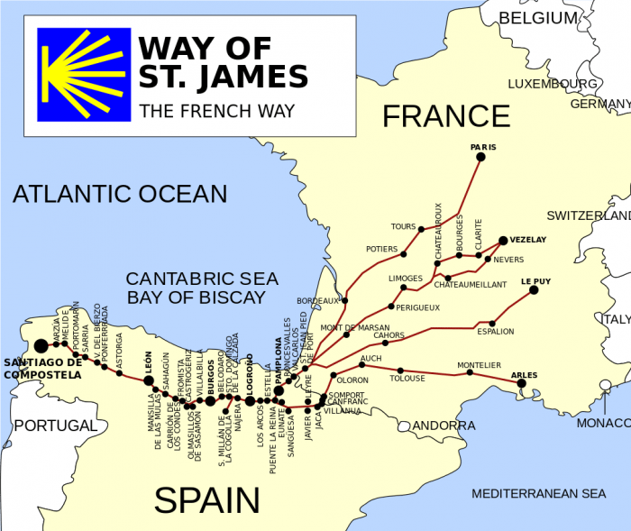 Four branches of the French Way, the most popular of the Camino routes (Vivaelcelta/Wikimedia)
