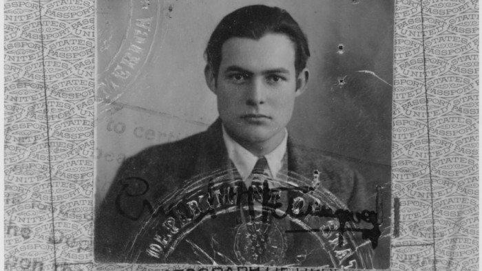 Ernest Hemingway's 1923 passport photo (Public Domain)