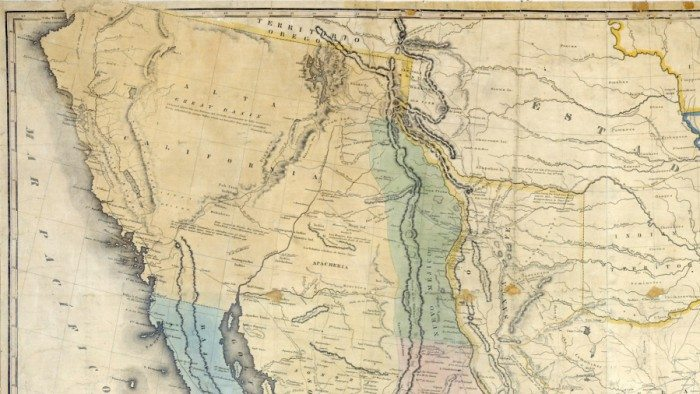 1847 map used during the negotiations of the Treaty of Guadalupe Hidalgo. The border shown between Baja and Alta California is south of today's U.S.-Mexico border. (Public Domain)