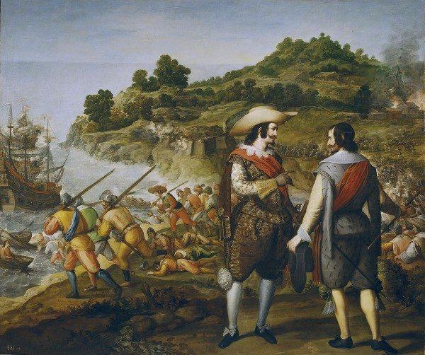 Seventeenth-century Spanish painting commemorating Captain Juan de Amezquita's victory and Enrico's defeat at San Juan de Puerto Rico; by Eugenio Caxés, Museo del Prado (Public Domain)