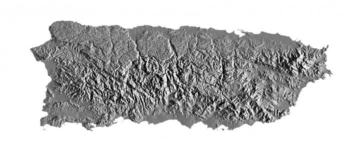 Shaded relief map of Puerto Rico (U.S. Geological Survey)