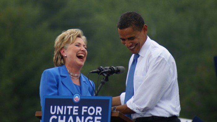 Former State Sec. Hillary Clinton and Pres. Barack Obama (Marc Nozell/Flickr)