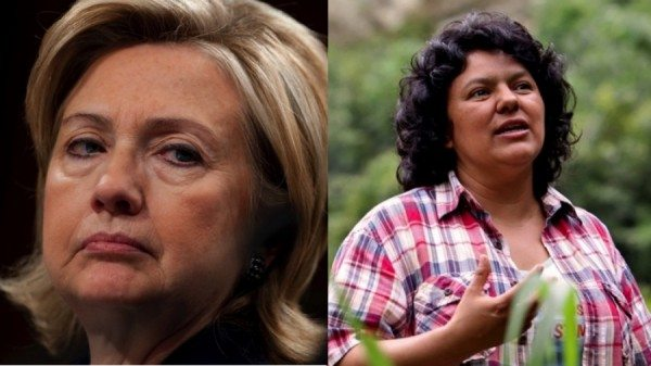 On the left, former State Sec. Hillary Clinton, and on the right, Berta Cáceres, an environmental activist killed on March 2, 2016