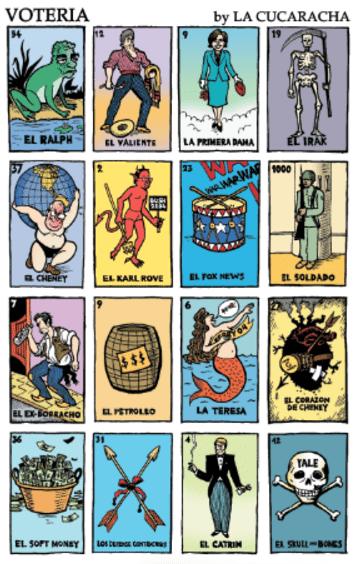 Voteria board illustrated by Lalo Alcaraz.