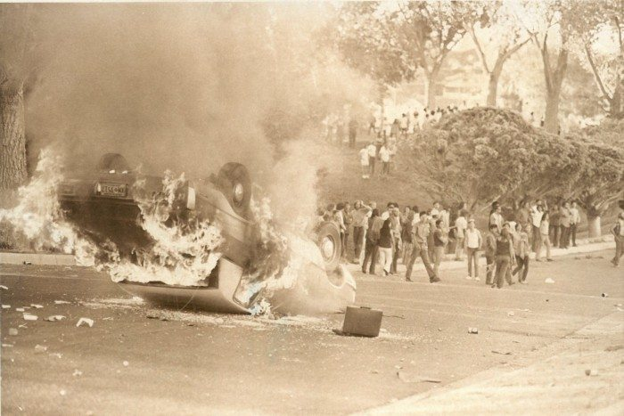 Rioting at Roosevelt Park in Albuquerque, New Mexico (Guy Bralley/Albuquerque Journal)