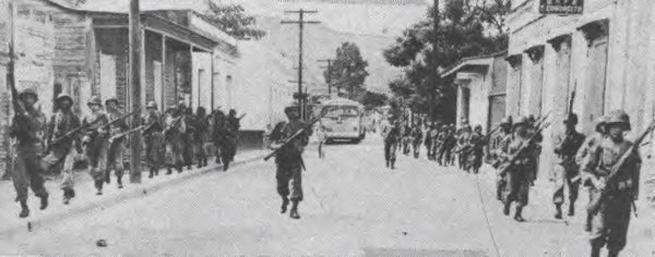 Puerto Rico National Guard troops in Jayuya, Puerto Rico, during the 1950 Jayuya Uprising. (Public Domain)