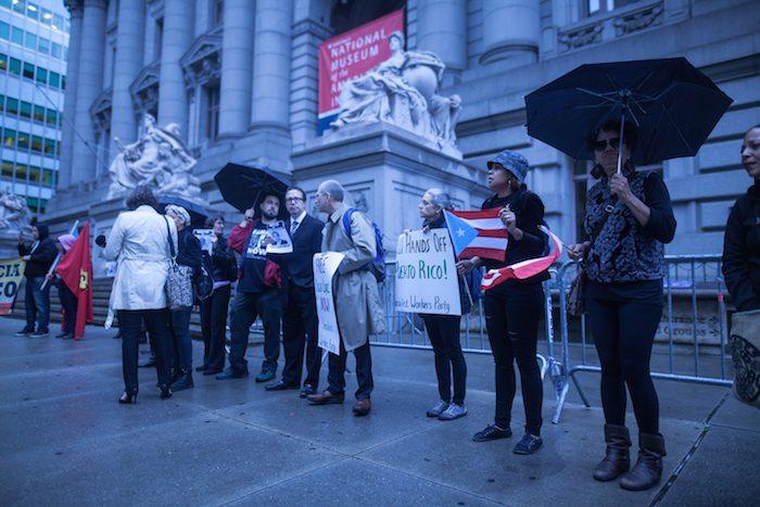 Protesters outside of the Alexander Hamilton U.S. Custom House
